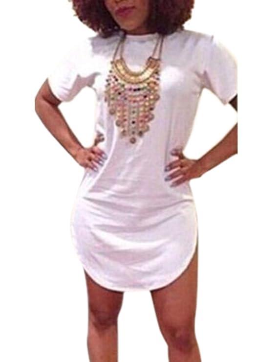 Allegrace Womens Summer Side Slit Casual Cotton Beach Mini T Shirt Dresses