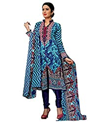 Blue & SkyBlue Colour Pashmina Printed Unstitched Dress Material