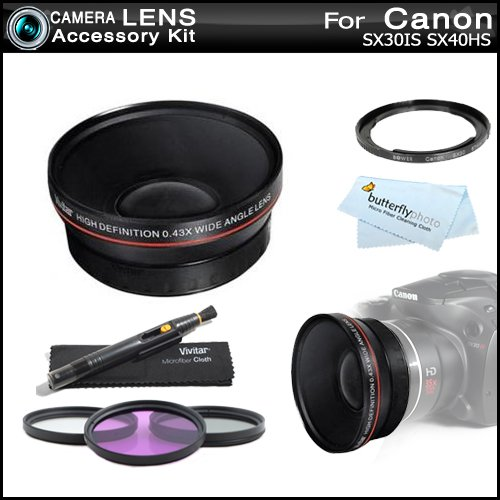 67mm HD Wide Angle Lens Kit For Canon SX50 HS, SX50HS, SX40 HS SX40HS SX30 IS SX30IS Includes 67mm Vivitar 0.43x High Definition Wide Angle Lens with Macro + Necessary Filter Adapter (Replaces Canon FA-DC67A) + 3pc Filter Kit (UV-CPL-FLD) + LensPen +
