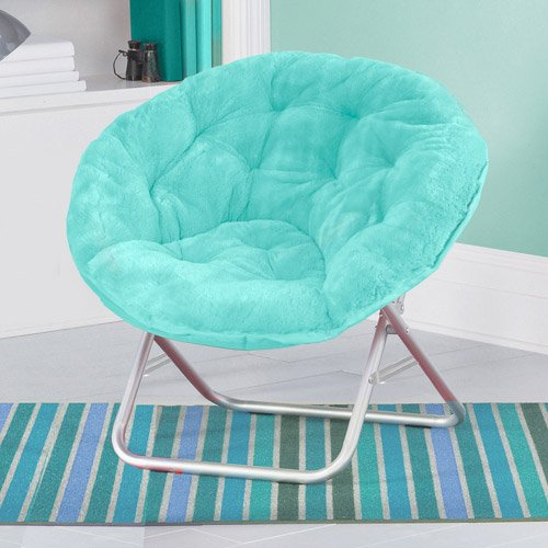 Folding soft plush saucer chair aqua seat dorm furniture - Chair for teenage bedroom ...