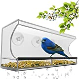 Large Window Bird Feeder - Clear, Removable Tray, Drain Holes & Beautiful Packaging. Enjoy Wild Birds Up Close From Inside Your House. Best Gift For Bird Lovers, Kids & Pets. 3 Heavy Duty Suction Cups