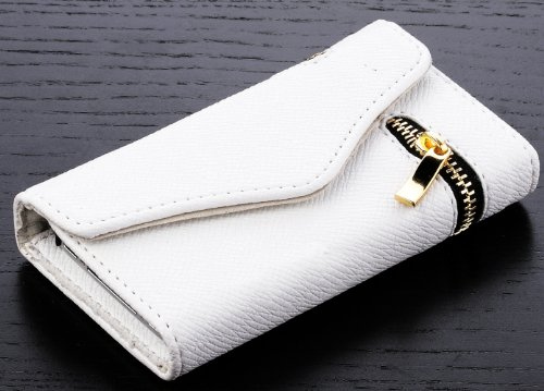 Mylife (Tm) White Zipper Design - Textured Koskin Faux Leather (Lanyard Strap + Card And Id Holder + Magnetic Detachable Closing) Slim Wallet For Iphone 4/4S (4G) 4Th Generation Touch Phone (External Rugged Synthetic Leather With Magnetic Clip + Internal