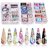 30 Color Nail Foil Transfer Sticker, Kissbuty Flower Old English Letters Newspaper Nail Art Stickers Tips Wraps Foil Transfer Glitters Acrylic DIY Nail Decoration, 3 Boxes (Flower English Newspaper) (Color: Flower English Newspaper)
