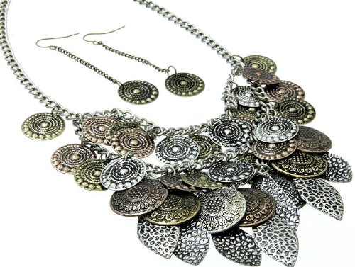 NECKLACE AND EARRING SET METAL METAL CASTING BROWN Fashion Jewelry Costume Jewelry fashion accessory Beautiful Charms