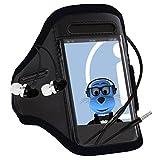 iTALKonline Samsung i8200N Galaxy S III mini VE SCHWARZ Sport Jogging und Fitnessstudio-Armbinde-Arm-Band-Fall-Abdeckung mit 3,5-mm-Kopfhörer-Freisprech-Mikrofon Aluminium und Ein / Aus-Schalterh