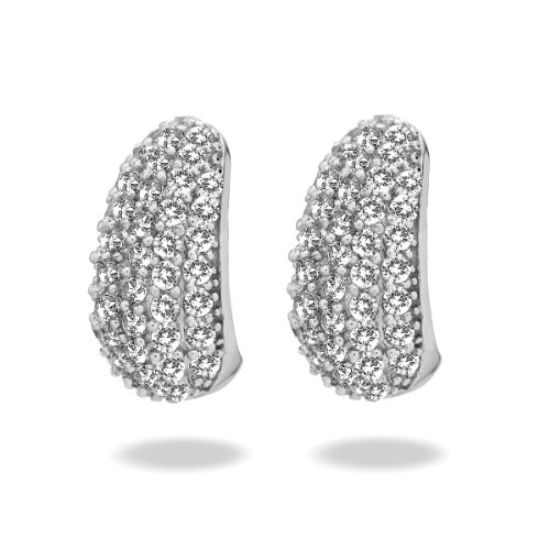 Rafaela Donata Damen-Creolen Classic Collection Zirkonia weiß 925 Sterling Silber 60837034