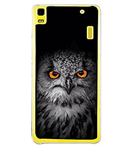 Owl with Orange Eye 2D Hard Polycarbonate Designer Back Case Cover for Lenovo K3 Note :: Lenovo A7000 Turbo