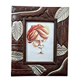 Ethnic Art And Crafts Wooden Photo Frame (22.86cm X 27.94cm, Light Walnut & German Silver)
