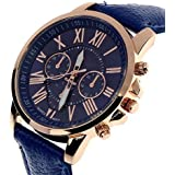 Geneva Roman Numerals Faux Leather Analog Quartz Women Wrist Watch