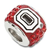 Sterling Silver Ohio State University Premier Crystal Bead Charm OSU070CHMSS