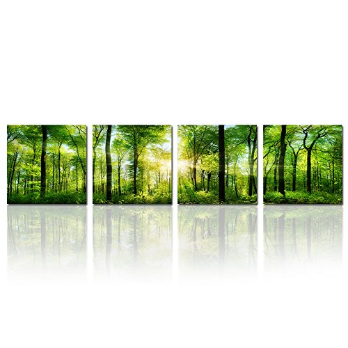 Hello Artwork - Summer Forest in Sunshine Landscape Panoramic Giclee Canvas Prints Paintings on Canvas Wall Art for Living Room Decorations Canvas Set of 4 Ready to Hang (12''x12''x4pcs) (Nature Paintings On Canvas compare prices)