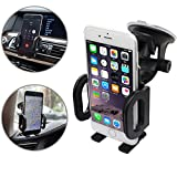 Car Mount Phone Holder Cradle, Geekee 3-in-1 Universal Car Phone Mount Air Vent Dashboard Mount Windshield Mount For iPhone Samsung Galaxy (3in1 Grey)