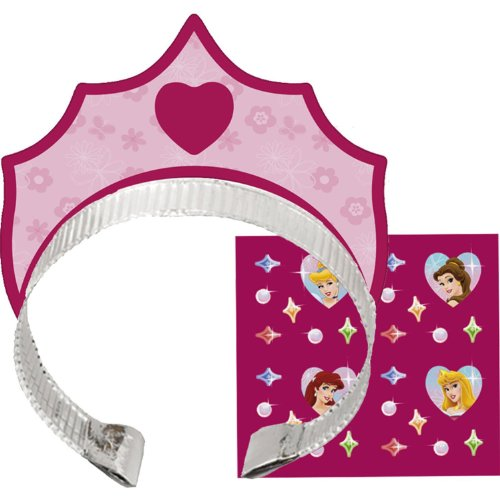 Disney Princess Tiara 4 Headbands, 4 Stickers  8ct