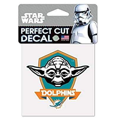 Miami Dolphins Official NFL 4 inch x 4 inch Star Wars Yoda Die Cut Car Decal by Wincraft 401984