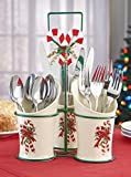 Ceramic Utensil Caddy Kitchen Dinning Accent Decor Festive Candy Cane Bow Christmas Holiday Silverware Spoon Knife Fork Flatware Holder