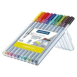 Staedtler Triplus Fineliner 334 Black Fine tip Felt tip Marker Pen Assorted Colors (10ct)