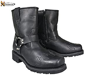 Xelement Mens Advanced 10 Inch Harness Black Flame Motorcycle Boots - 10