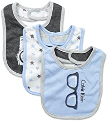 Calvin Klein Baby-Boys Newborn 3 Packs Bibs Blue, Multi, One Size
