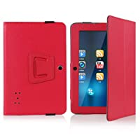 "Crazycity PU Leather Slim 7 inch tablet Folio Protective Cover Case with Stand for 7"" Afunta Q88, AGPtek, Alldaymall Q88, Axis, Chromo, Dragon Touch A13 Q88,Y88, Tagital with Dual Camera Tablet PC, ZTO N1, ZTO N1 plus, Zeepad 7.0 Only (Q88:red) by Crazyci"