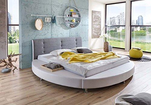 SAM-Design-Rundbett-Bebop-180-x-200-cm-Bett-in-wei-grau-Kopfteil-abgesteppt-mit-Chromfen-auch-als-Wasserbett-verwendbar
