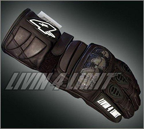 4LIMIT Sports gants moto >>GP1<< en cuir noir-noir