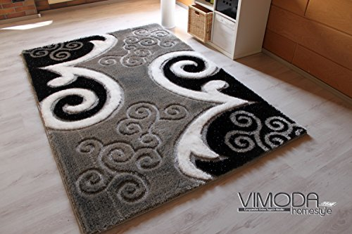 lusso tappeto nero grigio bianco con neutro motivo e effetto glitter poliestere schaggy. Black Bedroom Furniture Sets. Home Design Ideas
