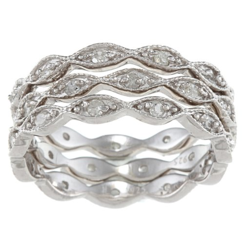 Sterling Silver 3/4ct Eternity Stackable Diamond Bands (G-H, I2) - Set of 3