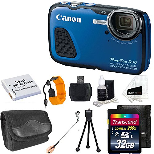 Canon-PowerShot-D30-121MP-Waterproof-Digital-Camera-Blue-Extra-Battery-With-32GB-SD-Memory-Card-Accessory-Bundle