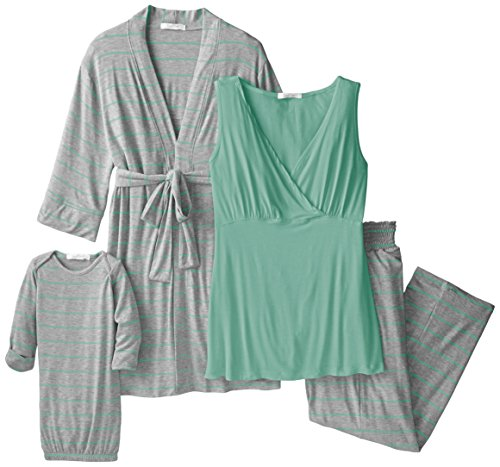 Everly Grey Women's Maternity Roxanne Nursing Pajama Pant Set with Baby Gown, Sea Foam, Large