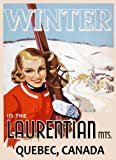 """Laurentian Quebec Canada Blond Girl Ski Skiing Winter Sport Vintage Poster Repro 12"""" X 16"""" Image Size. We Have Other Sizes Available!"""