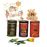 Skylofts 273gms Luscious Chocolate Coated Rich Dry Fruit Collection With Teddy, A Best Friend Card And A Yellow...