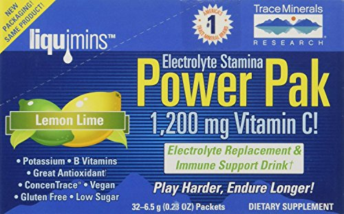 Trace Minerals Research Electrolyte Stamina Power Pak, 1200mg Vitamin C Packets, Lemon Lime 32 ea