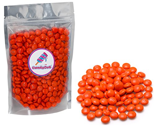 m&m Orange Milk Chocolate 1lb (1 pound ) in sealed stand-up pouch bag
