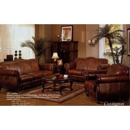 2 Pc Brown Leather Sofa And Love Seat Set