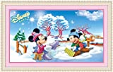 Mickey and Minnie Mouse in Winter, Diamond Painting DIY Kit, Beading Paint By Number Kit, Size 26 By 17 Inches