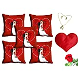 MeSleep Valentine Couple Cushion Cover (16x16) - Set Of 5 With Free Heart Shaped Filled Cushion And Artificial...