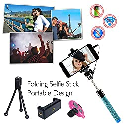 COOLNUT® Extendable Wired Selfie Stick Handheld Stick With Adjustable Phone Holder And Bluetooth Remote Shutter For Smartphones & Android Phones (Selfie Stick)