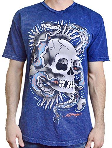 Ed Hardy Men's T Shirt Snake Skull, Navy Mineral