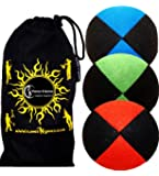 3x Juggling Ball Set Deluxe (SUEDE) Professional Juggling Balls Set of 3 +Fabric Travel Bag. (Red/Blue/Green)