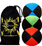3x Pro Thud Juggling Balls - Deluxe (SUEDE) Professional Juggling Ball Set of 3 + Fabric Travel Bag! (Black-Blue/Red/Green)