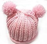 (ル・タン)Le TEMPS ハンドメイド ベビー用ニット帽子 ボンボン付 1~3歳用 1(ライトピンク)