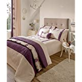 Luxury Floral Duvet Cover - Embroidered Faux Silk Bedding Beige & Purple Bed Set