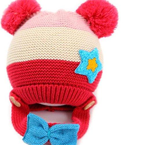 Viskey Cute Unisex Baby Pentagram Winter Beanies Knit Hat with Bowknot,Rose Red