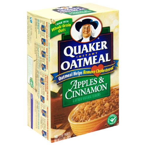 Quaker Instant Oatmeal Apples & Cinnamon, 10-Count Boxes (Pack of 4)