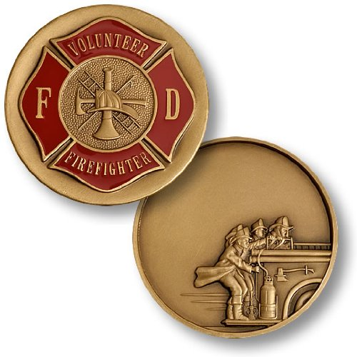 Volunteer Fire Fighter Fire Heritage Engravable Challenge Coin - 1
