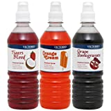 VICTORIO Shaved Ice/Snow Cone Syrup, Orange Cream, Tigers Blood, Grape Pomegranate 3PK