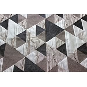 Amazon com 53 quot wide brown n grey origami geometric pattern curtain