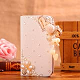 Locaa(TM) For HTC One M8 (HTC M8) 3D Bling Cases Deluxe Luxury Crystal Pearl Diamond Rhinestone eye-catching Beautiful Leather Retro Support bumper Cover Card Holder Wallet Case - [General series] heart pendant