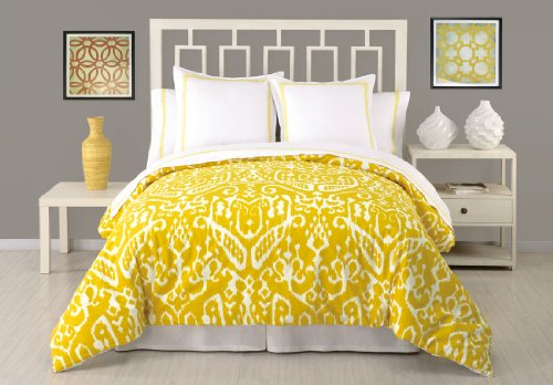 Trina Turk 3-Piece Ikat Duvet Set, King, Yellow front-685663