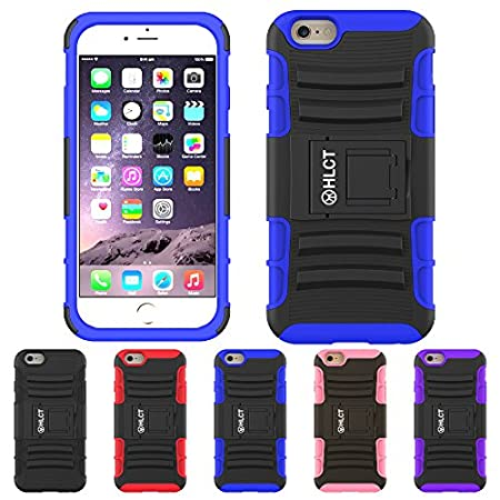 iPhone 6S Plus Case, HLCT Rugged Shock Proof Dual-Layer Case with Built-In Kickstand for iPhone 6S Plus (2016) (Blue)